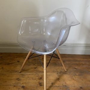 Contemporary Floating Chrome and Plastic Chair