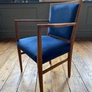 Mid century teak upholstered dining chair
