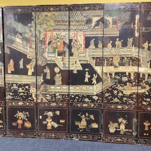 Antique chinese lacquered screen